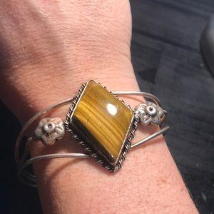 Large silvertone cuff bracelet w large Tiger's eye